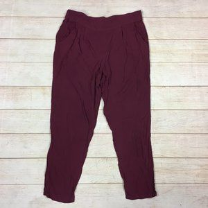 Free People Maroon Cropped Lounge Jogger Pants